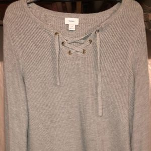 "Gray ""tie up"" sweater"